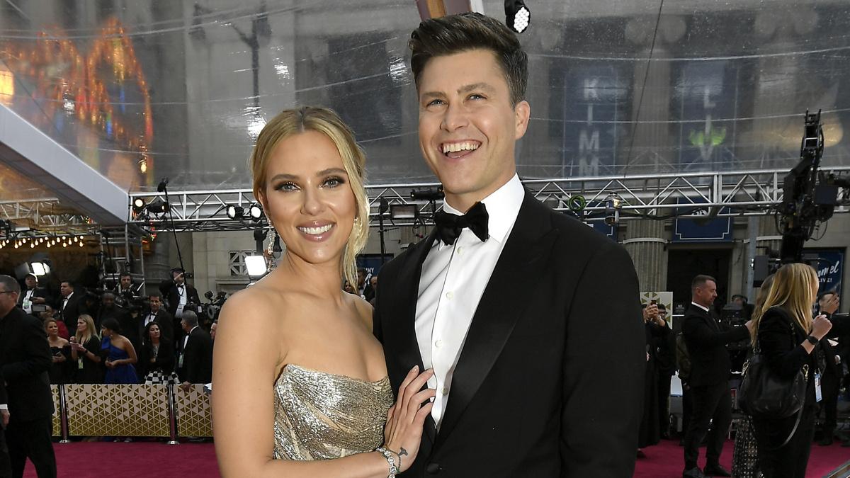Scarlett Johansson - Colin Jost - 2/20 - Kevork Djansezian/Getty Images